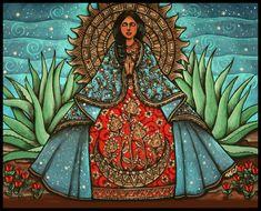 La Virgen de Guadalupe Tonantzin 8 x 10 Original Art Print Mayan Symbols, Viking Symbols, Egyptian Symbols, Viking Runes, Ancient Symbols, Mexican Art Tattoos, Indian Tattoos, Original Art, Original Paintings