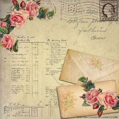 Love the combination of antique, roses, stamps, postcard, ledger <3