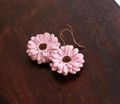 Pastel Pink Gerbera Daisy Flower Earrings by EvasCreationsShop