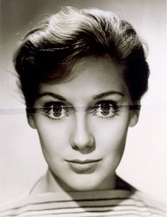 John Stezaker. By making a very small change to this actress publicity image Stezaker suggests a more disturbing, less confident image. The additional strip in the area of the eyes also picks up the pattern stripes, at a slight angle, of the figures clothing.