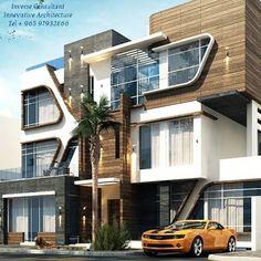 Innovative Architecture, Facade Architecture, House Front Design, Modern House Design, Morden House, Modern Bungalow Exterior, Villa Plan, 3d Home, House Elevation