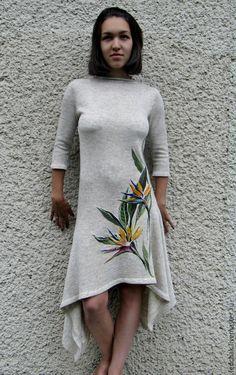 Платья ручной работы. Платье из льна с ручной вышивкой. Viktor. Интернет-магазин Ярмарка Мастеров. Лен, ручная вышивка, лён