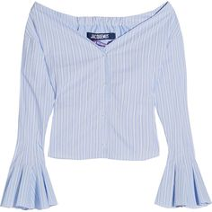 Jacquemus Off-the-shoulder striped cotton-poplin top (€305) ❤ liked on Polyvore featuring tops, blouses, blue, off the shoulder tops, blue top, blue stripe blouse, stripe top and striped top