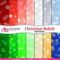 Christmas bokeh digital papers. Commercial & di PolpoDesign