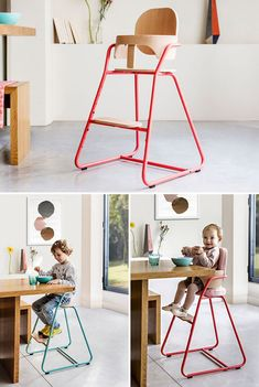14 Modern High Chairs For Children // A simple chair that can be left as is or embellished with various pillows, straps, and trays, this high chair can be used for any occasion, be it eating dinner with the family or hanging out while mom and dad cook. Wood High Chairs, Best High Chairs, Retro Dining Chairs, Vintage Chairs, Cool Chairs, Kitchen Chairs, Cute Desk Chair, Baby Chair, Egg Chair