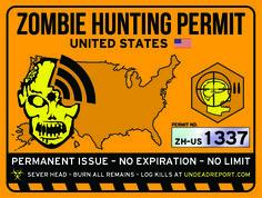 zombie hunting permit sticker!