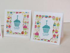 Ensemble de 4 mini cartes de voeux, cartes d'invitation  «Cupcake» Stampin up! de la boutique Lamainalacarte sur Etsy