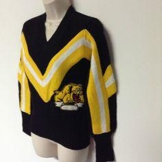 Vtg Bettendorf Bulldogs Iowa Football Cheerleader Cheer Sweater 34 S Cheerleading Uniforms, Football Cheerleaders, Back To The 80's, Bulldogs, Iowa, Sweaters For Women, V Neck, Pullover, Best Deals