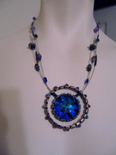 Beautiful Blue Watermelon Pendant Necklace Wire Strands Faceted Beads AB #Unbranded #Pendant