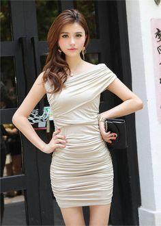 Sexy Fashion Cross Diagonal Hip Dress Gray
