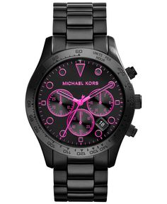 Michael Kors Women's Chronograph Layton Black Ion-Plated Stainless Steel Bracelet Watch 44mm MK6082 - Watches - Jewelry & Watches - Macy's CAN I PLEASE HAVE THIS!