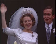 Beatrix of the Netherlands, who abdicated in April 2013, weds in Amsterdam in 1966: http://www.britishpathe.com/video/they-wed-in-amsterdam-technicolor
