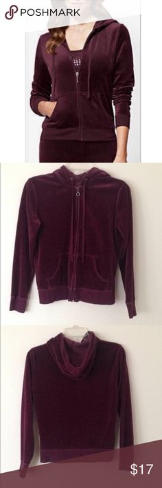 New York & Company plum velour hoodie Beautiful deep plum colored velour hoodie from New York & Co. with front zipper close and front angled pockets. Adorable rhinestone embellished round loop holes at the hood and on the zipper accent. Flattering ribbed waist and cuffs add style and comfort. Gently worn and washed a few times, well kept and in great condition. A cozy fall and winter must have. 80%cotton, 20%polyester. Size XS. New York & Company Tops Sweatshirts & Hoodies