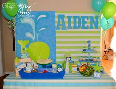 "Photo 5 of 32: Whale, Ocean, Under the Sea / Birthday ""Aiden's Green Whale 1st Birthday Party"" 