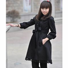 Petite - Plus Size Women Black Lace Gothic Lolita Dress Trench Coats SKU-11401595