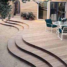 Curved deck steps