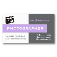 #Photographer #grey, white, #lavender #purple eye-catching #businesscards #templates    See more business cards here  http://www.zazzle.com/justbusinesscards?rf=238228936251904937=zBookmarklet