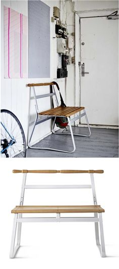 IKEA PS 2014 bench. The bench stands evenly when placed on soft surfaces, because it doesn't have legs that may sink into the ground.