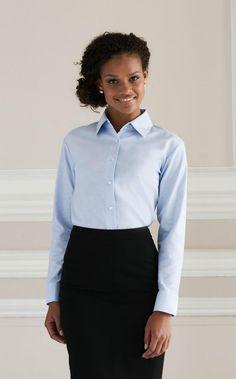 RUSSELL Camicia donna Aziendale Manica lunga Misto Cotone Oxford Stirofacile