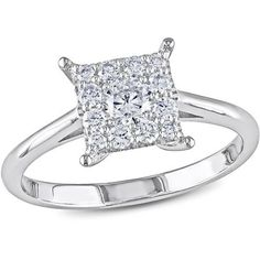 Miabella 1/2 Carat T.W. Diamond 14kt White Gold Engagement Ring