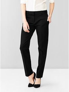 if i worked in an office I would buy these. true to size and slim thru the thigh, nice butt because it has stretch. True straight pants