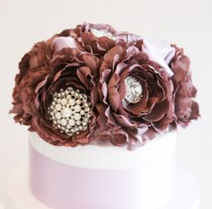 Pastel Burgundy Wedding Cake Topper -Rhinestone and Pearls, Wedding centerpieces, Pastel Wedding Decorations on Etsy, $120.00