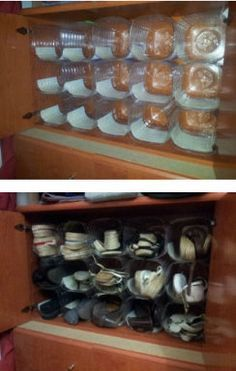 Discover thousands of images about Hacer un zapatero reciclando garrafas de agua Plastic Bottle Crafts, Recycle Plastic Bottles, Shoe Organizer, Closet Organization, Shoe Storage, Diy Storage, Diy Recycle, Recycling, Home Hacks