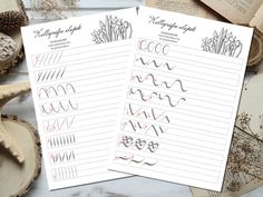 01 Calligraphy Tutorial, How To Write Calligraphy, Bujo, Bullet Journal, Templates, Writing, Models, Stencils, Vorlage