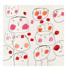 red cheeks giclee print - cheerful drawing - children wall art - whymsical faces…