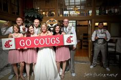 The Cougar group... And then the lone Huskies fan in the corner ;) #WSU #wedding