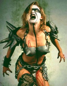 """Slymenstra Hymen (portrayed by Danielle Stampe) from GWAR.  I had the pleasure of doing an interview with GWAR once, and when Slymenstra signed my GWAR comic for me, she wrote, """"Women bleed for days and do not die - That's true MAGIC!"""""""