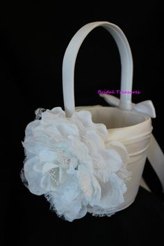 White Satin Flower Girl Basket with White by CustomRingChests, $25.00