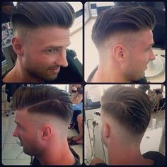 Perfectly shaved sides and back Medium Skin Fade, Shaved Sides, Pompadour, Fade Haircut, Haircuts For Men, Medium Hair Styles, New Hair, Shaving, Style Me