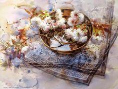 Floral watercolor by artist Yuko Nagayama Paintings Watercolor Design, Watercolor Illustration, Watercolor Flowers, Watercolour Painting, Watercolors, Graphic 45, Art Textile, China Art, Still Life Art