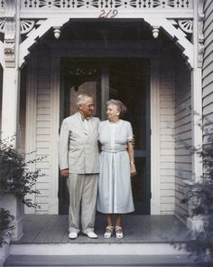 President Harry S. Truman and Mrs. Bess Truman on the porch of their Independence, Missouri home, 1953