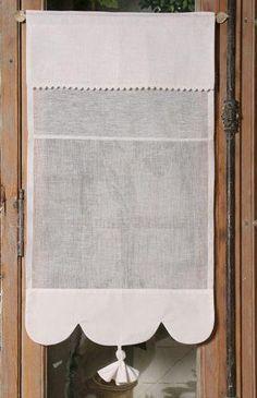 : Brise-bise lin blanc Modèle CAMELIA 35x90 cm