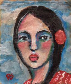 Tea Bag Portrait  23  - Hannela by Roberta Schmidt   ArtcyLucy on Etsy