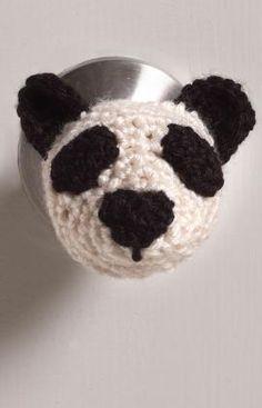 Häkelmuster für Pandakopf für den Türknopf