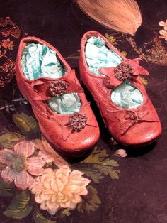 Antique Victorian Leather Doll Shoes