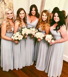 Sexy V-neck Light Gray Chiffon Cheap long Bridesmaid Dresses with sleeveless, Bridesmaid Dresses 2018, Wedding Dresses, Blue And Blush Wedding, Cabbage Roses, Pretty Little, Bodice, Chiffon, V Neck, Grey
