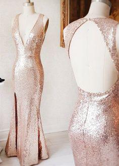 rose gold prom dresses,mermaid prom dresses,long prom dresses,split prom dresses,cheap prom dresses