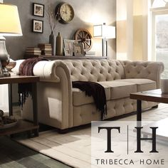 Add graceful seating to you home with the Knightsbridge Chesterfield. Showcasing tufted back and rolled arms in beige linen, along with bun feet finished in dark brown, this elegant padded seat sofa can provide plenty of support and comfort in style.