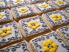 NFSC covered in MMF with gray and yellow RI decorations {corrie76 via cakecentral} #flowers #cookies