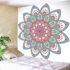 Buy Mandala Wall Hanging Floral Print Tapestry, sale ends soon. Be inspired: enjoy affordable quality shopping at Gearbest! Mandala Art, Mandala Drawing, Mandala Painting, Mandala On Wall, Art Mural, Wall Murals, Wall Art, Motif Floral, Floral Prints
