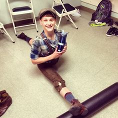 Ben Cook warming up before a performance of Newsies <3