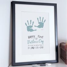 First Father's Day, Personalised Baby Hand Print Poster - the perfect gift for dad's this Father's day