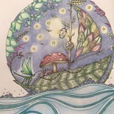 Enchanted Forest Coloring Book Adult Books Pages Johanna Basford Sailing Boat Colored Pencils Color Inspiration Big Kids