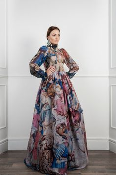Amazing silk chiffon ballgown with a medieval tapestry by VahanKhachatryan