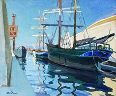 Voiliers au canal St Jean-Huile sur toile (70x60 cm)- Edmond Astruc