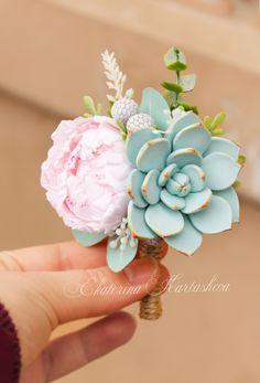 wedding boutonniere, succulent grooms boutonniere clay flowers alternative bouquet wedding flowers eucalyptus brunei echeveria woodland prom
